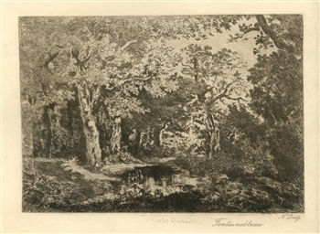 "Narcisse Virgile Diaz etching ""Fontainebleau"""