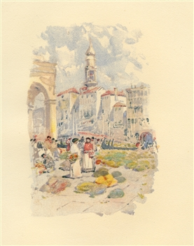 "Childe Hassam chromolithograph ""The Rialto"""