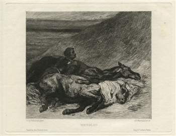 "Eugene Delacroix etching ""Waterloo"""