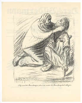 "Ernst Barlach ""Blessed are the Merciful"" lithograph"