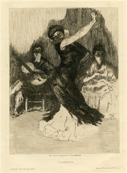 "Alexandre Lunois original etching ""Flamenca"""