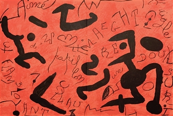 Joan Miro original lithograph Homage to Aime Maeght, 1982