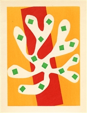 "Henri Matisse pochoir ""Algue blanche sur fond orange et rouge"""