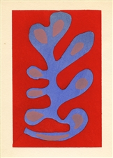 "Henri Matisse pochoir ""Algue bleue sur fond rouge"""