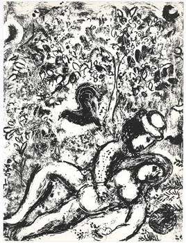 Marc Chagall original lithograph The Pair in the Tree