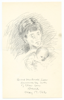 Raphael Soyer rare unpublished lithograph, 1962