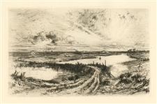 Thomas Moran original etching Rainbow
