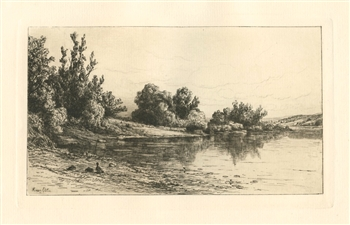 Kruseman Van Elten original etching Along The Houstantonic