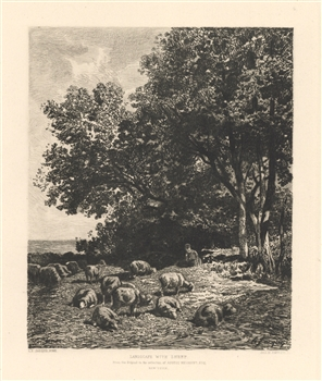 Charles Emile Jacque James Smillie etching