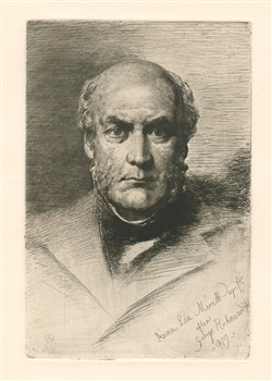 Anna Lea Merritt etching Portrait of Sir Gilbert Scott
