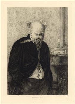 Leon Richeton etching Worrited Erskine Nicol