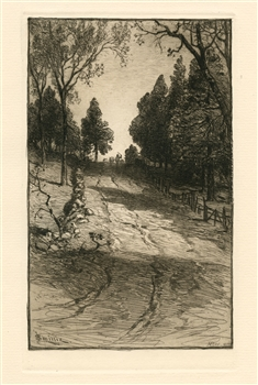 James Smillie original etching Up the Hill