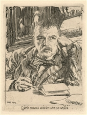 Anders Zorn original etching Self Portrait with Inscription