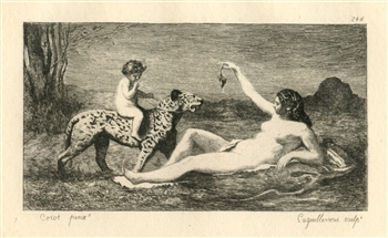 Jean-Baptiste Corot etching Bacchante with a Panther