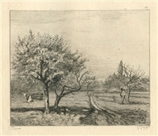Camille Pissarro etching Orchard in Bloom, Louveciennes