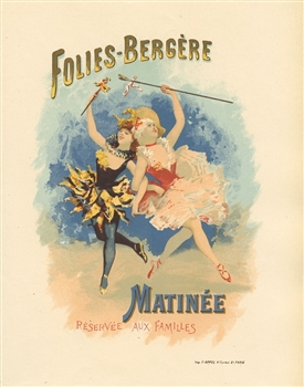 French lithograph poster Folies Bergere Matinee