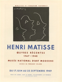 Matisse lithograph poster Mourlot Oeurves Recentes