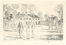 "Childe Hassam pencil-signed etching ""Bowling on the Green"""