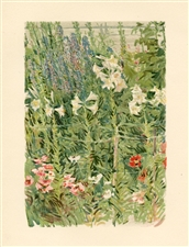 "Childe Hassam chromolithograph ""Larkspurs and Lilies"""