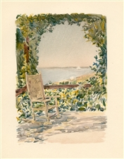 "Childe Hassam chromolithograph ""A Shady Seat"""