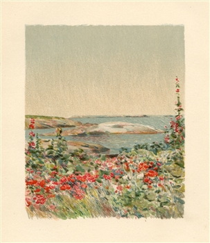 "Childe Hassam chromolithograph ""From the Doorway"""