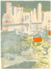 "Paul Guiramand original lithograph ""Le port de New York"""
