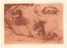 "Frederick Stuart Church original etching ""A Dissertation upon Roast Pig"""