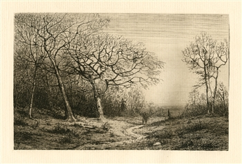 "Henry Farrer original etching ""December"""