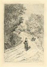 "Theophile Narcisse Chauvel original etching ""A Country Lane"""