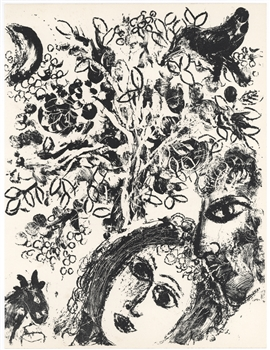 Marc Chagall original lithograph Couple Beside Tree