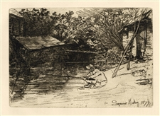 "Seymour Haden ""The Complete Angler"" original etching"