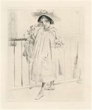 "Julian Alden Weir original etching ""Petite fille"