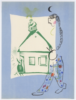 Marc Chagall original lithograph La Maison de mon village, House in my Village