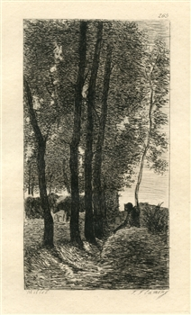 Jean-Francois Millet etching Shepherd Tending his Flock