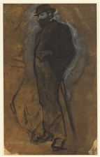 "Edgar Degas pochoir ""Standing Man in a Bowler Hat"""