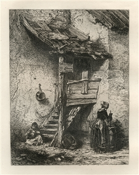 "Charles Emile Jacque ""A Rustic Stair"" original etching"