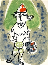 "Marc Chagall ""The Green Clown"" original lithograph"