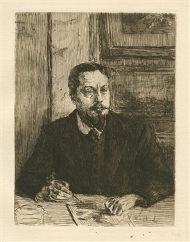 Alexandre Lunois original etching Portrait