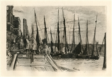 "James Whistler original etching ""Billingsgate"""