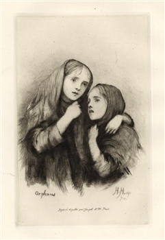 Hubert von Herkomer Orphans original etching