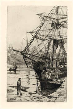 William Hole Leith Docks etching