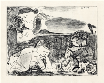 Pablo Picasso lithograph Games and Reading