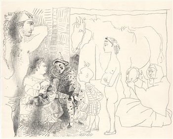 Pablo Picasso lithograph Clown's Family