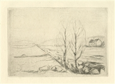 Edvard Munch Norwegische Landschaft original etching Cassirer