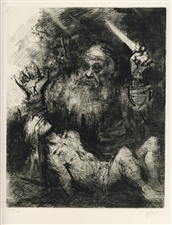 Jack Levine signed original etching Sacrifice of Isaac