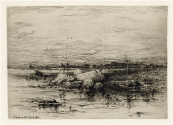 "Robert Swain Gifford original etching ""The Mouth of the Apponigansett"""
