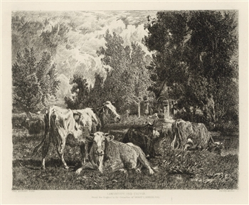 Peter Moran etching Landscape and Cattle