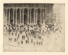 "Joseph Pennell original etching ""The Pavement, St. Paul's"""