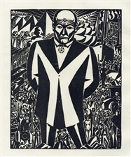 Frans Masereel woodcut Business Man Genius