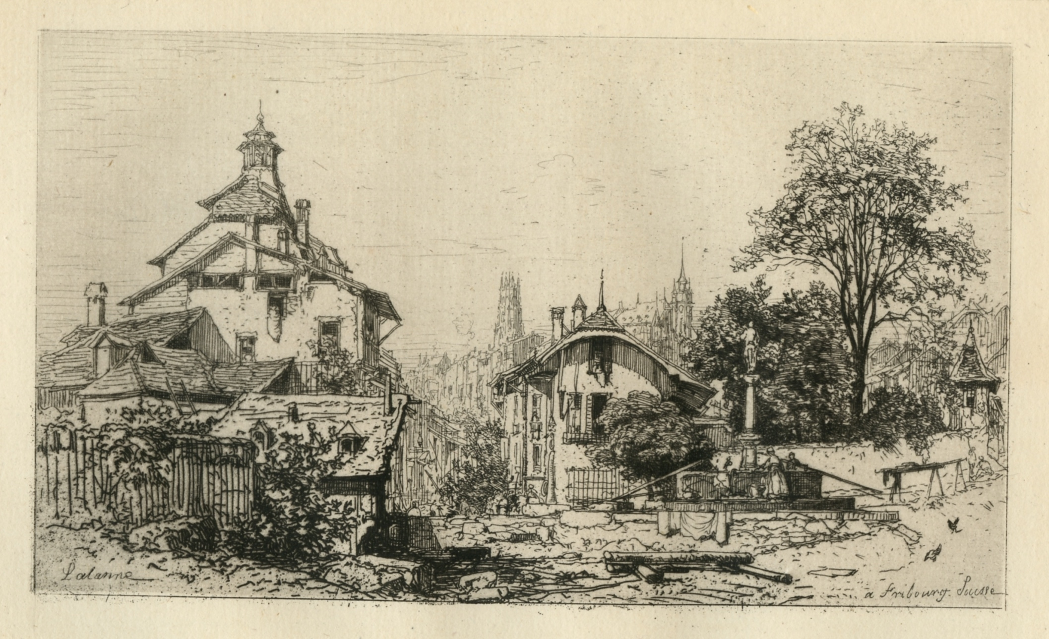 Maxime LALANNE Original 1800s SIGNED Etching Rouen Countryside Custom Framed Gallery Certificate
